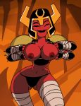 1girl abs alien ben_10 ben_10:_omniverse big_breasts black_panties breasts cleavage closed_eyes dace dboy flashing four_eyes funny gif helmet looma_red_wind muscle nipples panties princess red_skin
