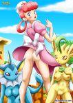 3girls anthro ass blush breasts dress dress_lift furry leafeon multiple_girls no_panties nurse_joy pokemon pokepornlive vaporeon