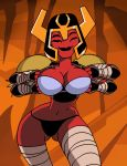 1_girl abs alien animated_gif ben_10 ben_10:_omniverse big_breasts black_panties bra breasts cleavage dace dboy_(artist) flashing four_eyes funny helmet looma_red_wind muscle panties princess red_skin solo