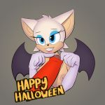 1girl 2015 anthro bat blue_eyes breasts clothed clothing elbow_gloves english_text furry gloves hair half-dressed mammal nipples paoguu penis rouge_the_bat sega smile text topless white_hair