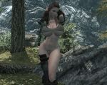 1girl 3d big_breasts breasts collarbone female fuckable hair large_breasts long_hair loverslab mod most_body navel outdoors outside skyrim solo the_elder_scrolls tree trees