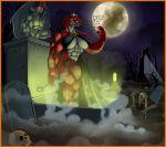 1girl abs anthro bat breasts cleavage cosplay dinosaur fang_(character) full_moon gargoyle graveyard halloween lordstevie lordstevie_(artist) male monster moon muscle orange_eyes reptile scale skull vampire zombie