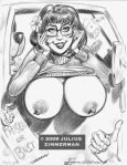 2009 breasts julius_zimmerman_(artist) monochrome nipples scooby-doo velma_dinkley