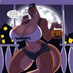 1girl 1girl 2015 anthro big_breasts breasts candies cleavage clothed clothing dinosaur english_text eyewear furry glasses halloween holidays house huge_breasts moon muscular muscular_female navel night red_eyes reptile scalie shiny_skin skimpy text tyrannosaurus_rex zp92