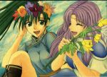 2girls :d armor armored_dress art artist_request boots breasts chinese_clothes circlet closed_eyes dress earrings fire_emblem fire_emblem:_rekka_no_ken fire_emblem_7 fire_emblem_blazing_sword florina florina_(fire_emblem) flower friends green_eyes green_hair hair hair_flower hair_ornament happy head_wreath jewelry laugh laughing lavender_hair long_hair lyn lyndis lyndis_(fire_emblem) multiple_girls mutual_yuri nintendo open_mouth pegasus_knight ponytail purple_hair sitting smile wreath yuri