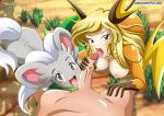 1boy 2girls cinccino double_fellatio fellatio licking multiple_girls oral palcomix pokemon pokepornlive raichu
