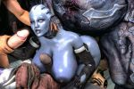 1girl 3d animated animated_gif areolae asari big_ass blue_skin bouncing_breasts breasts collar crossover cum_on_face curvy demon dreamhawk ea elf eyebrows female from_behind gangbang gif group_sex hetero huge_breasts huge_penis interspecies jack liara_t'soni male manaworld mass_effect monster multiple_penises nipples nude office old_man paizuri penis prostitution syx wide_hips yahg