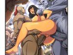 1girl anal double_penetration egypt feet group_sex huge_ass legend_of_queen_opala monster osira rape soles tamanegiya thick_thighs toes wide_hips