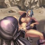 1girl 2015 after_sex big_breasts blue_hair blue_lipstick breasts cum cum_on_belly cum_on_breasts eud_(systemblue) eyebrows female helpless impossible_fit laquadia_(legend_of_queen_opala) large_breasts legend_of_queen_opala male monster monster_penis navel nipples nude open_mouth pussy sex short_hair teeth tongue vaginal_penetration yellow_eyes