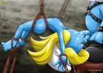 1girl blue_skin bondage breasts oral palcomix smurfette tagme the_smurfs