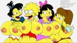 allison_taylor breasts grey_background huge_breasts jessica_lovejoy lisa_simpson maxtlat nikki_mckenna the_simpsons yellow_skin