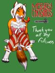 1girl 1girl 2015 angie_(character) anthro anus ass bell bow breasts candy candy_cane canine chakat-silverpaws christmas claws clitoris clothed clothing english_text food fox fur furry green_background green_eyes hair half-dressed high_res holidays legwear lingerie long_hair looking_at_viewer mammal nipples nude orange_fur pussy ribbons simple_background smile stockings teeth text toe_claws tongue translucent transparent_clothing white_hair
