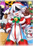 1girl 2015 anthro blush breasts christmas dog dragon furry high_res no_humans open_mouth red_eyes sex short_hair smile white_hair wolf wolflong