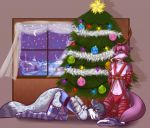 2015 adrian angry anthro ass bell big_tail bottomless bound bow bulge candy candy_cane canine christmas christmas_tree clothed clothing collar duo elbow_gloves feline food fur furry garland gift girly gloves hair half-dressed harness hat high_res holidays horn kneel legwear leopard lying male male/male mammal novus panties pawpads paws ribbons scarlet-frost skirt snow_leopard stockings stockings striped_legwear stripes tree underwear wolf