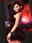 ass big_ass breasts disney dress earrings fireworks helen_parr hoop_earrings rasmus-the-owl tagme the_incredibles