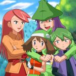 2boys 2girls :d :o alternate_costume arm_around_neck bandanna bangs belt belt_pouch blue_eyes blush brown_hair cloud coat couple crossed_arms drew drew_(pokemon) embarrassed flower gloves green_hair harley_(pokemon) haruka_(pokemon) hat holding hug hug_from_behind hugging long_hair long_sleeves looking_at_another lowres may mountain multiple_boys multiple_girls nintendo open_clothes open_mouth open_shirt outdoors pants pokemoa pokemon pokemon_(anime) purple_hair red_hair red_rose rose saori_(pokemon) shirt short_hair short_sleeves shuu_(pokemon) sky smile soara swept_bangs tree