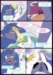 1girl 2016 animal_genitalia animal_pussy anus ass blue_eyes blue_hair blush comic cutie_mark dialogue dock duo english_text equine equine_pussy female/female feral friendship_is_magic glowing hair half-closed_eyes horn kanashiipanda_(artist) long_hair magic mammal my_little_pony open_mouth princess_celestia_(mlp) princess_luna_(mlp) pussy pussy_juice sibling sisters teeth text tongue tongue_out winged_unicorn wings