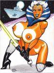 ahsoka_tano alien big_breasts breasts lightsaber nipples orange_skin rob_durham rob_durham_(artist) star_destroyer star_wars star_wars:_the_clone_wars