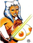 1girl ahsoka_tano alien big_breasts breasts lightsaber nipples rob_durham rob_durham_(artist) smile star_wars star_wars:_the_clone_wars white_background