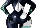 1girl anthro ass backshot big_hips female furry hands_on_hips imp large_ass midna nintendo render round_ass simple_background solo the_legend_of_zelda transparent_background video_games