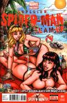 2girls beach bikini blonde_hair comic_cover garrett_blair garrett_blair_(artist) gwen_stacy hair marvel mary_jane mary_jane_watson multiple_girls red_hair spider-man topless