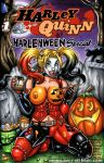 blonde_hair blue_eyes body_paint breasts choker comic_cover corset dc dc_comics elbow_gloves face_paint fingerless_gloves garrett_blair garrett_blair_(artist) halloween harley_quinn looking_at_viewer makeup multicolored_hair nipples pumpkin tattoo thighhighs twintails