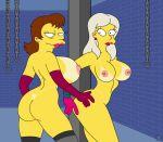 ass big_ass big_breasts breasts dat_ass eyelashes milf mrs._muntz nano_baz nipples the_simpsons yellow_skin