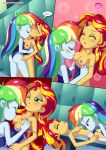 2girls breast_kiss comic equestria_girls equestria_untamed friendship_is_magic humanized kissing_neck lesbian multiple_girls my_little_pony one-piece_swimsuit physical_education rainbow_dash rainbow_dash_(mlp) sunset_shimmer sunset_shimmer_(eg) swimsuit swimsuit_pull undressing yuri