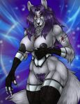 1_girl 2016 anthro areola armpit armwear big_breasts black_nose blue_background breasts canine claws clothed clothing corset fenrir-lunaris_(artist) fur furry grey_fur hair huge_breasts jewelry legwear long_hair looking_at_viewer mammal necklace nipples partially_nude pubic_hair purple_fur purple_hair pussy pussy_hair red_eyes sericyon_lunaris signature simple_background text tuft white_claws wide_hips wolf