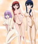 3_girls big_breasts blue_eyes blue_hair blush braid breasts breasts_apart brown_eyes cameltoe clavicle collarbone covering covering_crotch female_pubic_hair gentoku gentoku-88 hai_to_gensou_no_grimgar hair_over_shoulder high_resolution highres lavender_hair long_hair long_legs looking_at_viewer medium_breasts merry_(grimgar) multiple_girls navel nipples nude open_mouth pubic_hair purple_eyes purple_hair pussy red_eyes red_hair shihoru_(grimgar) short_hair simple_background single_braid small_breasts smile standing tied_hair uncensored yume_(grimgar)