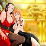 2girls :p art babe big_breasts black_dress black_gloves black_hair bracelet breasts cleavage criss-cross_halter dress earrings friends gloves hair high_res hoop_earrings hugging indoors jewelry licking_lips long_hair looking_at_viewer love multiple_girls mutual_yuri nami naughty_face necklace nico_robin one_piece orange_hair pirate red_dress reito-sama reito-sama_(artist) ring side_slit smile stockings tongue yuri