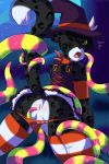 abstract_background animal_genitalia animal_penis anus armwear ass backsack black_fur black_hair blush cat clothed clothing crossdressing digital_media_(artwork) dress feline fur furry green_eyes hair halloween headwear highres imminent_sex jira_(character) legwear leopard magic_user male mammal panties panties_aside penis ripped_panties stockings sweat sweetpupperoo tentacle testicles tongue underwear witch