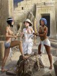 3girls breasts dashinvaine_(artist) egypt long_legs multiple_girls nipples tagme