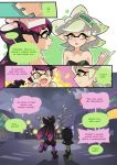 2girls :d :o aori_(splatoon) arm arms arms_up art babe bare_arms bare_shoulders black_dress black_hair blush breasts cleavage clenched_hand clenched_hands comic detached_collar domino_mask dress english fangs full_body gloves green_dress hair hair_ornament happy hotaru_(splatoon) inkling jacket long_hair looking_at_another looking_away mask mole mole_under_eye multiple_girls neck nintendo open_mouth pointing pointy_ears purple_dress purple_hair shoes short_hair shy siblings silver_hair sisters smile speech_bubble splatoon strapless strapless_dress talking tentacle_hair upper_body walking white_gloves wong_ying_chee wong_ying_chee_(artist) yellow_eyes yuri