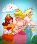 ass big_ass big_breasts breast_expansion breasts mushroom nipples princess_daisy princess_peach princess_rosalina super_mario_bros. super_mario_galaxy volupop