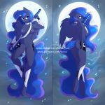 1girl 2019 anthro areola ass breasts cutie_mark digital_media_(artwork) equid equine feathered_wings feathers fensu-san friendship_is_magic full_moon furry hair high_res horn long_hair looking_at_viewer mammal melee_weapon moon my_little_pony nipples princess_luna_(mlp) pussy sword weapon winged_unicorn wings