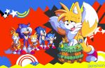 """2016 absurd_res anthro cake canine erection food fox furry group hedgehog highres male mammal masturbation miles_""""tails""""_prower penis sega senshion sonic_the_hedgehog square_crossover testicles"""