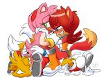 "1girl amy_rose anthro ass blue_eyes blush canine cum excessive_cum face-sitting fiona_fox fox furry green_eyes hedgehog male male/female mammal miles_""tails""_prower multi_tail sega skinbark"