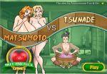 2girls bleach blonde_hair breasts game hair huge_breasts matsumoto_rangiku meet_and_fuck multiple_girls naruto nude orange_hair threesome tsunade