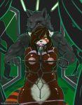 1girl 2016 anthro areola arnachy ball_gag bdsm bondage bound canine collar furry gag male mammal nipples nude pussy red_panda rope rope_bondage rope_harness whip wolf