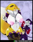 1girl 2016 anthro areola ass big_breasts black_sclera blush breasts canine chest_tuft clothing cum digimon duo erect erect_nipples erect_penis eye_roll finger_lick fox fur furry gloves heart highres imp impmon lactating large_breasts licking looking_at_viewer male mammal milk nipples nude penis pussy renamon saliva smile sruto testicles tongue tongue_out tuft web_address web_address_without_path white_fur yellow_fur yin_yang
