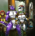 2016 abs anthro bdsm bondage bound breasts cameltoe cum dragon femdom fish furry high_res horn link2004_(artist) male marine masturbation medallion melee_weapon muscular nika_sharkeh nipple_piercing nipples pecs piercing polearm pussy_juice pussy_juice_string raventhan restrained rope shark spear spikes stripes weapon wet_panties
