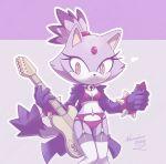 1girl 1girl 2016 absurd_res anthro blaze_the_cat cat feline furry guitar high_res mammal musical_instrument nancher sega smile