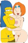 2_girls big_breasts croc_(artist) family_guy huge_breasts lois_griffin looking_at_viewer marge_simpson milf the_simpsons