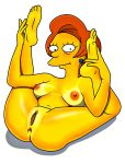 anus ass breasts edna_krabappel nude shaved_pussy spreading the_simpsons yellow_skin