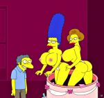 big_ass big_breasts breasts edna_krabappel huge_breasts marge_simpson the_simpsons thong yellow_skin