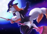 1girl 2016 anthro azelyn breasts broom canine cape clothing dog flying furry hat husky legwear magic_user mammal moon night nipples pubic_hair red_eyes smile stockings tattoo witch witch_hat