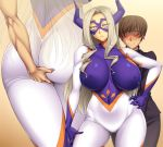 1boy 1girl ameoto angry ass ass_grab bangs big_ass blonde_hair blush bodysuit boku_no_hero_academia breasts breasts_apart brown_hair covered_navel domino_mask embarrassed erect_nipples fingering frown gloves hand_on_hip horns huge_breasts long_hair long_sleeves mask mount_lady navel nipple_bulge purple_eyes purple_gloves school_uniform short_hair skin_tight surprised sweat thighs wide_eyed