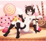 1girl 2016 anthro black_hair candy cat dessert feline food fruit furry girly hair ice_cream lollipop looking_at_viewer male mammal nude one_eye_closed penis pose re-sublimity-kun red_eyes smile strawberry testicles wink