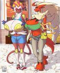 1girl 2016 anthro armpits big_breasts blaziken breasts cleavage clothed clothing duo flashing furry huge_breasts infernape lionalliance navel nintendo pokemon skimpy smile video_games